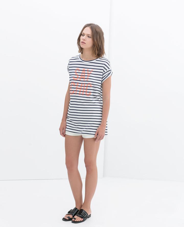 Zara Stripes And Text T-Shirt