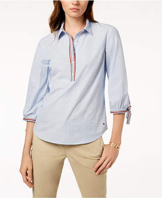Tommy Hilfiger Cotton Contrast-Trim Striped Shirt, Created for Macy's