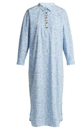 Ganni Sage Floral Print Long Sleeve Dress - Womens - Light Blue