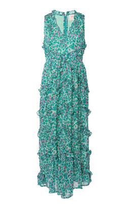 Banjanan Gizela Ruffled Printed Silk Maxi Dress