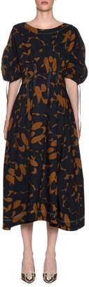 Marni Bateau-Neck Floral-Print Midi Dress