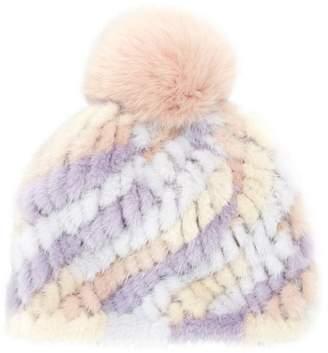 Jocelyn Savage Love Pastel Stripe Mink & Fox Fur Pom-Pom Beanie