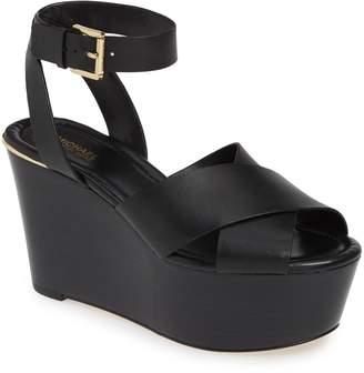 58b4b8212688d MICHAEL Michael Kors Black Wedge Women s Sandals - ShopStyle