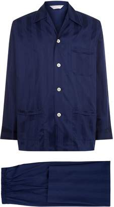 Derek Rose Lingfield Satin Stripe Pyjama Set