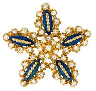 18K Diamond & Enamel Star Brooch