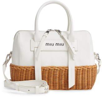 Miu Miu Midollino Leather & Rattan Satchel
