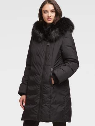 DKNY Asymmetrical Puffer Coat With Fur Hood