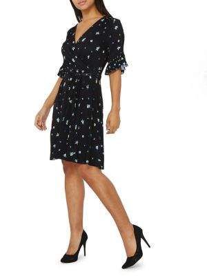Dorothy Perkins Ruffle-Sleeve Floral Wrap Dress