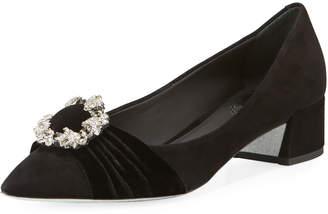 Rene Caovilla Velvet Crystal-Embellished Ballet Flats