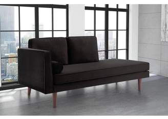 DHP Nola Mid Century Modern Upholstered Daybed/Chaise Black