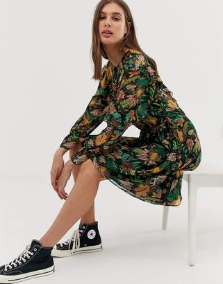 Maison Scotch leaf print ruffle dress
