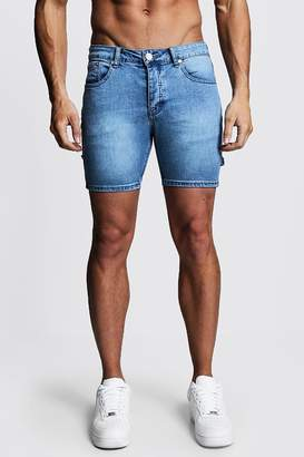 boohoo Skinny Fit Denim Shorts With Workwear Details