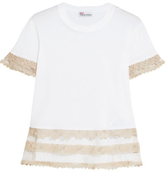 RED Valentino Macramé Lace-trimmed Cotton-jersey T-shirt - White
