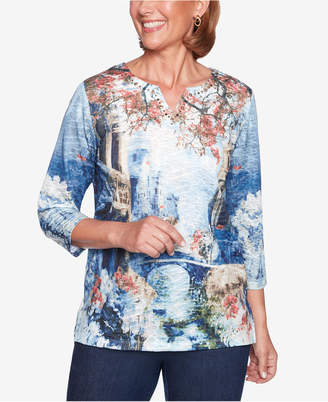 Alfred Dunner Petite News Flash Printed Top