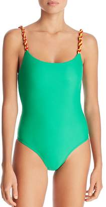 Paper London Two-Tone Strappy One-Piece Swimsuit