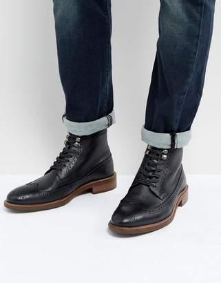 Dune Pebble Brogue Boots In Black