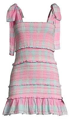 LoveShackFancy Women's Belle Plaid Tie Shoulder Smocked Dress