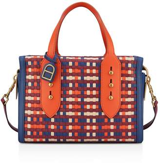 Anne Klein Collar Pin Woven Leather Satchel
