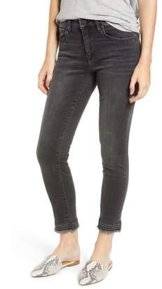 Mavi Jeans Tess Embroidered Frayed Ankle Jeans (Dark Grey Vintage)
