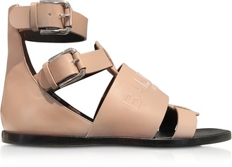 Balmain Powder Pink Leather Clothilde Flat Sandals