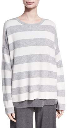 Eileen Fisher Round-Neck Long-Sleeve Striped Sweater Top, Plus Size