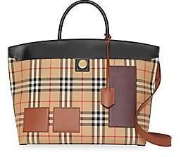 Burberry Women's Medium Curve Checked Top Handle Bag