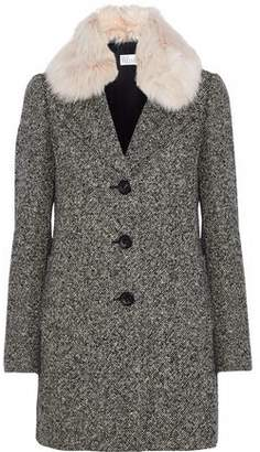 RED Valentino Faux Fur-Trimmed Marled Tweed Coat
