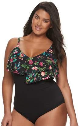 e21b2762d8102 Apt. 9 Plus Size Flounce One-Piece Swimsuit