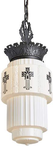 Rejuvenation Art Deco Pendant by Virden w/ Large Stenciled Shade