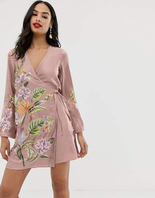 Asos Design DESIGN satin kimono jacket mini dress with floral embroidery and tassle tie