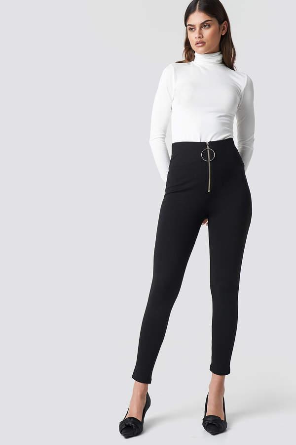 Trendyol Zipper Detailed Tight Pants Black