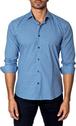 Unsimply Stitched Square-Pattern Sport Shirt, Blue