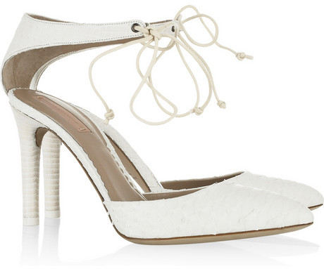 Reed Krakoff Ankle-tie pointed python pumps