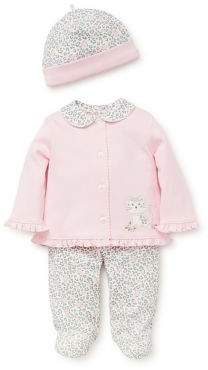 Little Me Baby Girl's Three-Piece Leopard-Print Cotton Jacket, Pants and Beanie Set