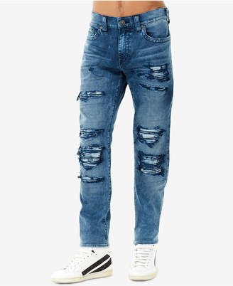 True Religion Men's Rocco No-Flap Rip & Repair Skinny Fit Stretch Jeans