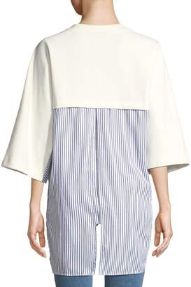 Donna Karan Elbow-Sleeve Shirt-Hem Sweatshirt