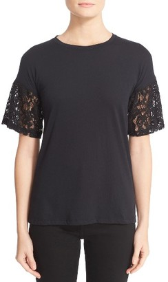 Women's Burberry Lace Puff Sleeve Tee $250 thestylecure.com
