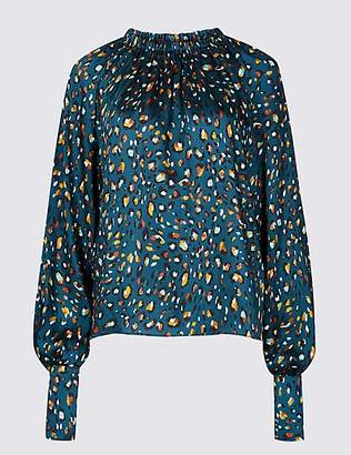 M&S Collection Animal Print Satin Long Sleeve Blouse