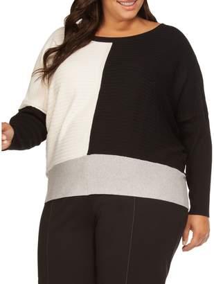 Dex Plus Striped Dropped-Shoulder Sweater