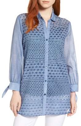 Nic+Zoe Mosaic Lace Cotton Silk Blouse (Regular & Petite)