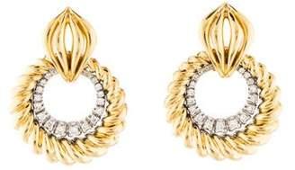 14K Diamond Door Knocker Earrings