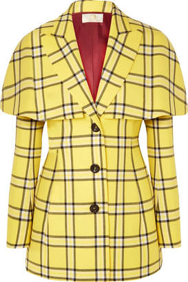 Sara Battaglia Cape-effect Checked Wool Blazer - Bright yellow