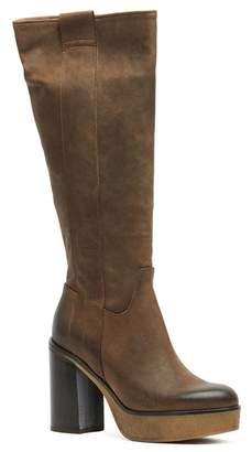 Manas Design Leather Block Heel Platform Boot