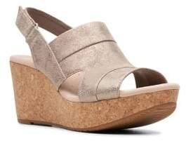 Clarks Collection By Annadel Ivory Leather Wedge Sandals