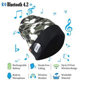SuMade Womens Mens Waterproof Wireless Bluetooth 4.2 Fleece Lined Winter Warm Slouchy Beanie Musical Knit Headphone Speaker Hat with Detachable Built-in Mic for Outdoor Sports Gifts (Camo