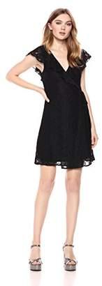 Romantic Dreamers Women's Surplice Ruffle Neckline Allover Lace Wrap Dress