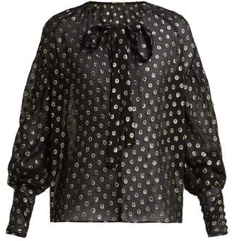 Saint Laurent Polka Dot Fil Coupe Silk Blend Blouse - Womens - Black Gold