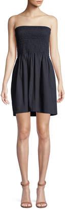 ATM Anthony Thomas Melillo Smocked Poplin Strapless Mini Dress