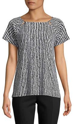 Jones New York Printed Raglan-Sleeve Top