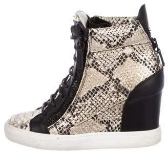 Giuseppe Zanotti Snakeskin Wedge Sneakers